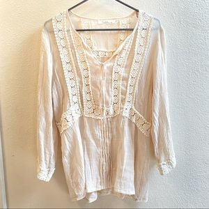 Solitaire boho large crepe top cream